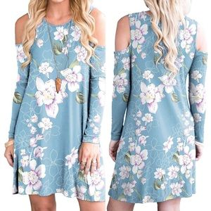 Tops - Cold Shoulder Blue Floral Womans Tunic Swing Dress